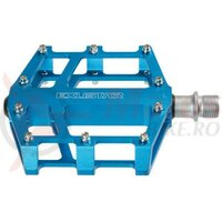 Pedale Exustar E-PB525, alu CNC, platforma, rulmenti, cuie schimbabile, albastru anodizat, 358gr, AM