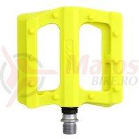 Pedale plastic cu rulmenti HT-PA 12 galben neon