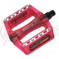 Pedale plastic MTB/Bmx Wellgo B108RP rosii platforma cuie schimbabile
