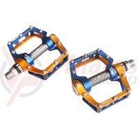 Pedale Xpedo FaceOff al 6061 CNC 2 piese auriu/albastru