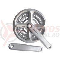 Pedalier Shimano FC-N171-A 170mm 48*38*28T 6/7/8v placi gri cu protectie argintiu