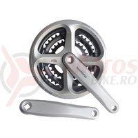 Pedalier Shimano FC-N171-A 170mm 48*38*28T 6/7/8v placi negre cu protectie argintiu