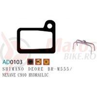 Placute frana Ashima AD0103, semi-metalice, compatibile Deore BR-M555/Nexave C910 Hyd..