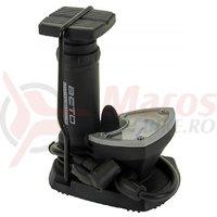 Pompa Beto CFT-003 plastic de picior cap dublu manometru 100psi neagra