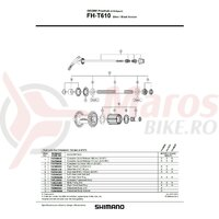 Quick release complet Shimano FH-T610 173mm (6-13/16
