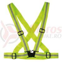Banda reflectoare Wowow Cross Belt galben elastic, ajustabil
