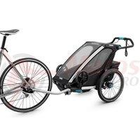 Remorca Thule Chariot Sport 1 neagra kit pentru bicicleta, plimbare si alergat in pachet pentru 1 copii