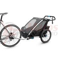 Remorca Thule Chariot Sport 2 neagra kit pentru bicicleta, plimbare si alergat in pachet pentru 2 copii