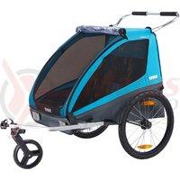 Remorca THULE COASTER XT set bicicleta + roata plimbare, albastru
