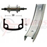 Roata spate 28x1.3/8 aluminiu screw sp.,rigid ,36 aluminiu single-wall rim silver