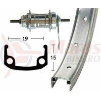 Roata spate 28x1 3/8 RB hub, rigid, 36H, single-wall rim silver