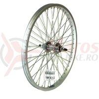 Roata spate BMX 20x1.75 janta aluminiu single-wall, argintiu, spite zinc