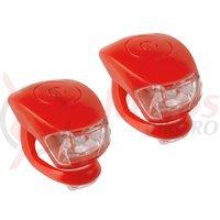 Set flash cu baterii M-Wave Cobra IV rosu