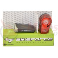 Set lampa fata spate BikeForce Krypton Superflash 3 functii USB