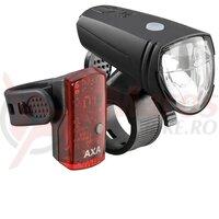Lumini fata/spate cu acumulator  AXA Green Line 25 Lux LED USB CB