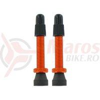Set valve presta tubeless Var Tools din aluminiu 35 mm portocaliu 2 buc