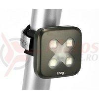 Stop spate Knog Blinder 4 X-Cross 5F 4led USB 45lumeni gun-metal