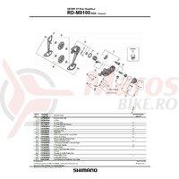 Suport de prindere pe urechea de schimbator Shimano RD-M8100