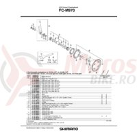 Surub (M8X7) & piulita Shimano pentru fixare brat pedalier FC-M970 dublu (4 seturi)