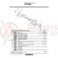 Surub (m8x7) & piulita Shimano pt. fixare brat pedalier FC-M785 dublu (4 seturi)