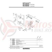 Surub si placa de fixare cablu pentru Shimano RD-M390