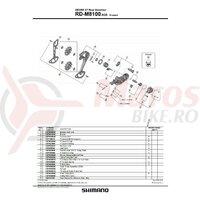 Suruburi ajustare tensiune si placa Shimano RD-M8100