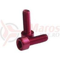Suruburi de aluminiu pt bidonas cadru Fibrax rosii