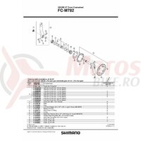 Suruburi de fixare Shimano FC-M782 double gear fixing bolt m8x10.1 & & piulita 4 sets