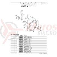 Suruburi pentru foaie Shimano FC-7710 gear fixing bolt & nut 5 sets