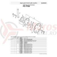 Suruburi Shimano FC-7703 inner gear fixing bolt M8x10.5 5 sets