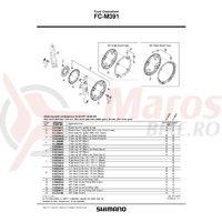 Suruburi si piulite de fixare (M8X8.5) pentru montarea foii mari si mijlocii la angrenajul FC-M391 (4 seturi) Shimano