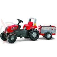 Tractor cu pedale Rolly Junior cu remorca rosu