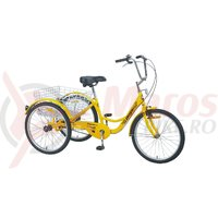 Triciclu Pegas Senior 6v galben stup