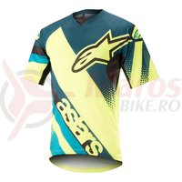 Tricou Alpinestars Racer S/S Jersey petrol/yellow fluo
