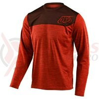 Tricou bicicleta Troy Lee Designs Flowline LS Shield Heather tangerine/dark slate 2020