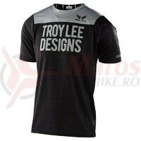 Tricou bicicleta Troy Lee Designs Skyline SS Pinstripe Block Black/Gray