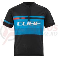 Tricou Ciclism Cube Junior Teamline Jersey Black/Blue/White
