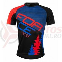 Tricou ciclism Force MTB X5, albastru/rosu
