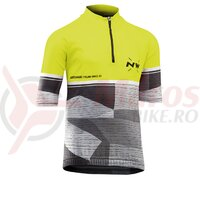 Tricou ciclism NORTHWAVE ORIGIN JUNIOR scurt fluo galben/gri