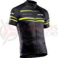 Tricou ciclism Northwave Origin negru/galben fluo