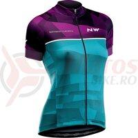 Tricou ciclism Northwave Origin WMN violet/verde