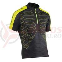 Tricou ciclism Northwave Skeleton scurt negru/galben