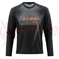 Tricou Cube Edge Round Neck Jersey L/S Black Orange