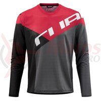 Tricou Cube Edge Round Neck Jersey L/S Black Red