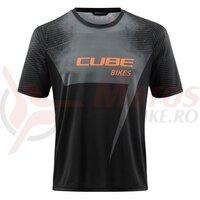 Tricou Cube Edge Round Neck Jersey S/S Black Orange