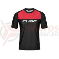 Tricou CUBE Edge round neck jersey S/S black red