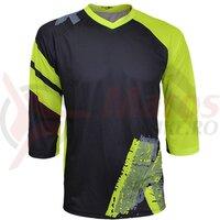 Tricou FUNKIER Dolomiti-K Enduro Kids 3/4 sleeve - Black/Ref Yellow