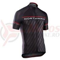 Tricou Northwave Logo 3 maneci scurte negru/rosu