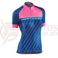 Tricou Northwave Logo 3 WMN woman maneci scurte roz/albastru