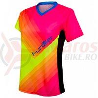Tricou polo FUNKIER Termoli-W Enduro Women S/S - Fluor Yellow/Pink